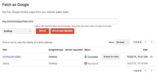 بخش  Fetch as Google در کنسول گوگل