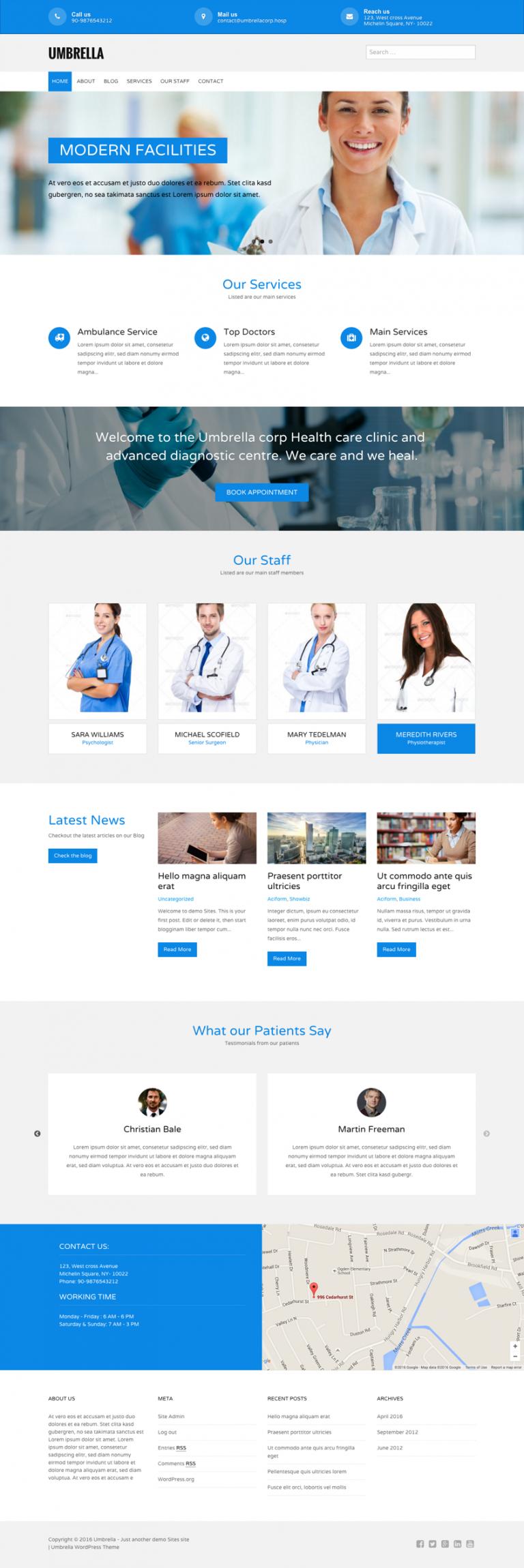قالب وردپرس پزشکی umbrella