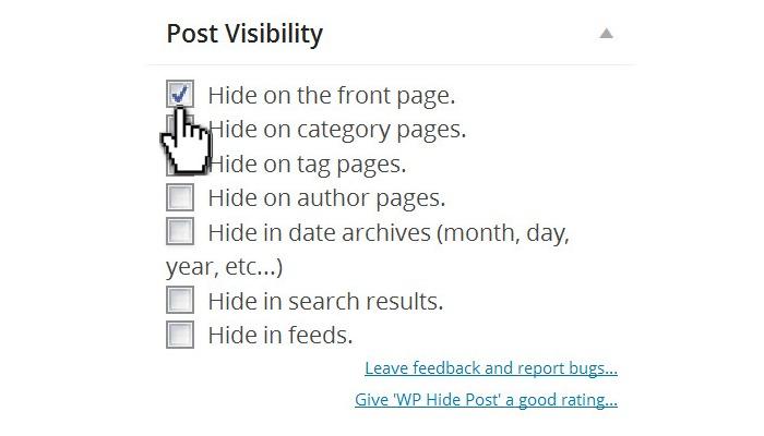 عدم نمایش پست در صفحه اصلی