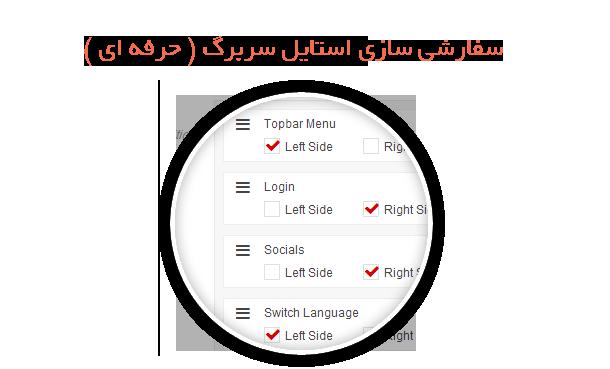 سفارشی سازی المان های نمایش داده شده در هدر سایت