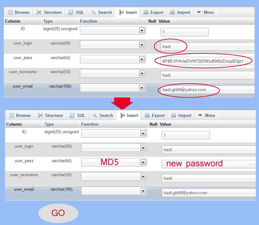 تغییر رمز عبور وردپرس از طریق دیتابیس mysql