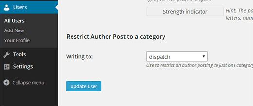 نحوه محدود کردن نویسنده برای دسته بندی خاص