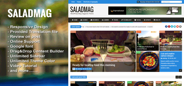 قالب وردپرس خبری مجله تفریحی وردپرس زیبا saladmag
