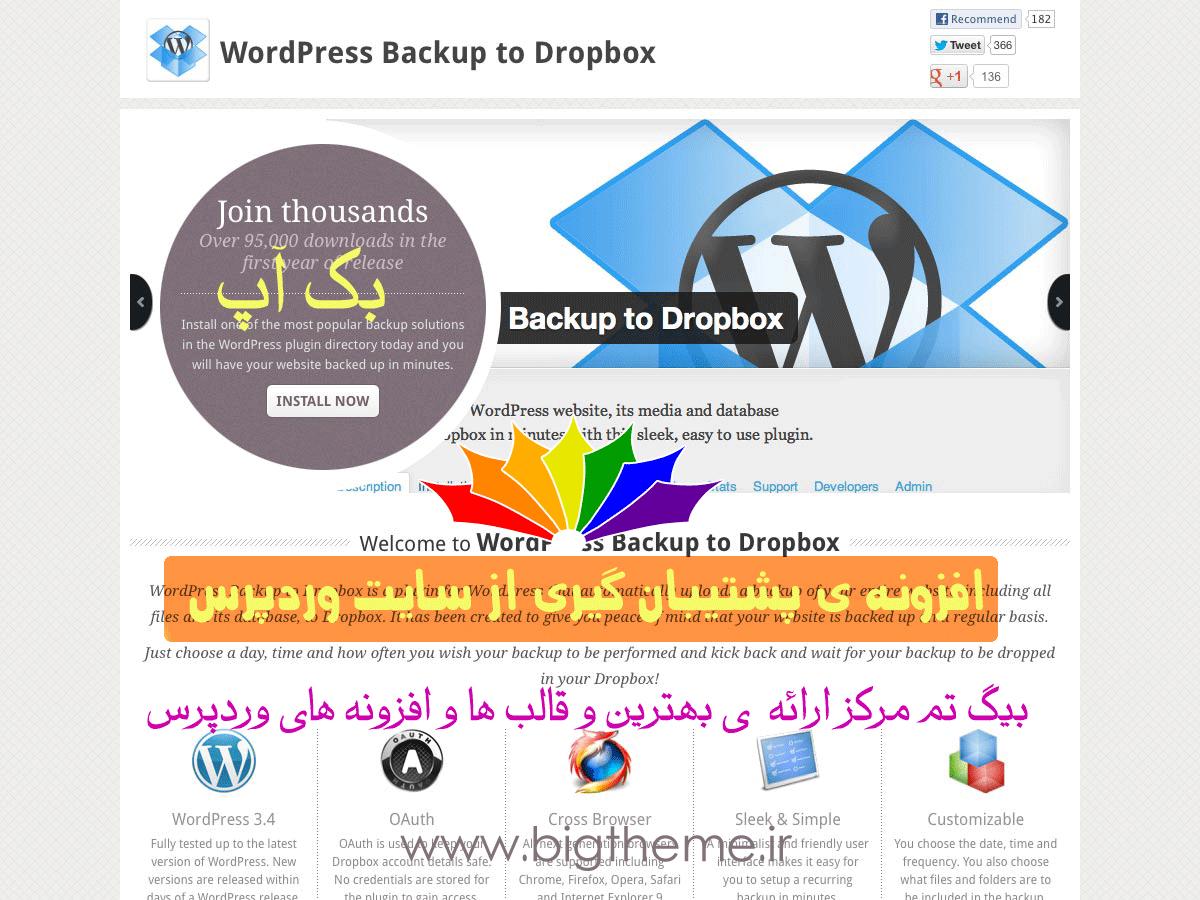 افزونه ی پشتیبان گیری از وردپرس WordPress Backup to Dropbox
